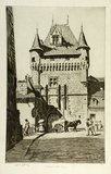 Artist: LINDSAY, Lionel | Title: Capucines' Gate, Loches | Date: 1931 | Technique: etching, printed in black ink, from one plate | Copyright: Courtesy of the National Library of Australia