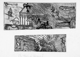 Artist: SHEARER, Mitzi | Title: Oh, what a circus! | Date: 1980-87 | Technique: etching, drypoint, printed in black ink with plate-tone, from two  plates, hand-coloured