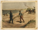 Title: Captain Rossiter comes to Eyre's aid, Great Australian Bight, 1841 | Date: 1890 | Technique: photo-engraving, printed in black ink, from one plate; hand-coloured