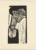 Artist: LAWTON, Tina | Title: Self-portrait | Date: c.1963 | Technique: linocut, printed in black ink, from one block