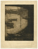 Artist: TRAILL, Jessie | Title: Under the bridge. | Date: 1912 | Technique: etching, printed in warm black ink with plate-tone and wiped highlights, from one plate