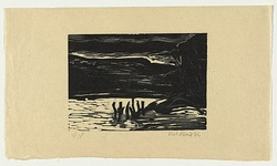 Artist: AMOR, Rick | Title: not titled (river, trees on right, stumps in water). | Date: 1984 | Technique: linocut, printed in black ink, from one block