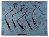 Title: Unbalanja Cave painting.. | Date: c.1970 | Technique: screenprint, printed in colour, from three stencils