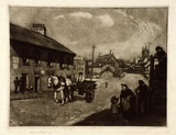 Artist: LINDSAY, Lionel | Title: Old Gloucester Street, The Rocks, Sydney | Date: 1911 | Technique: mezzotint and etching, printed in brown ink, from one plate | Copyright: Courtesy of the National Library of Australia