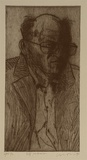 Artist: LINCOLN, Kevin | Title: Self-portrait | Date: 1998 | Technique: etching, printed in black ink, from one plate
