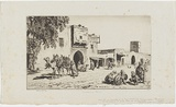 Artist: LINDSAY, Lionel | Title: Caravanserai, Kairouan, Tunisia | Date: 1929 | Technique: drypoint, printed in brown ink with plate-tone, from one plate | Copyright: Courtesy of the National Library of Australia