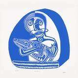 Artist: LASISI, David | Title: Saben | Date: 1976 | Technique: screenprint, printed in blue ink, from one stencil