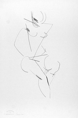 Artist: POWDITCH, Peter | Title: not titled [seated female nude] | Date: c.1972 | Technique: lithograph, printed in black ink, from one plate
