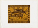 Artist: SANDY, Evelyn | Title: Kaa'uma | Date: 1998, June | Technique: screenprint, printed in yellow and brown ochre, from multiple stencils