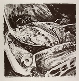 Artist: HILLARD, Merris | Title: Car smash 2 | Date: c.1986 | Technique: lithograph, printed in black ink, from one stone