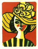 Artist: RIGBY, John | Title: Yellow hat | Date: 1974 | Technique: linocut, printed in colour, from five blocks | Copyright: This work appears on screen courtesy of the artist, John T. Rigby