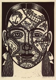 Artist: KLEIN, Deborah | Title: D'oyley face | Date: 1997 | Technique: linocut, printed in black ink, from one block