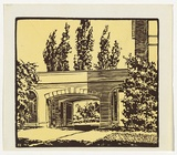 Artist: MILLS, Frank | Title: (University arch) | Date: c.1946 | Technique: linocut, printed in colour, from mutliple blocks