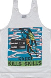 Artist: McMAHON, Marie | Title: T-shirt: Grog kills skills. | Date: 1987 | Technique: screenprint, printed in colour, from four stencils