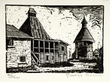 Artist: OWEN, Gladys | Title: (Oast houses) | Date: 1937 | Technique: wood-engraving, printed in black ink, from one block | Copyright: © Estate of David Moore