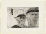 Artist: BRACK, John | Title: Jockeys returning. | Date: 1956 | Technique: etching, printed in black ink with plate-tone, from one plate | Copyright: © Helen Brack