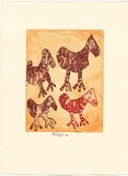 Artist: RUPERT, Nura | Title: Kalaya tjuta (many emus) | Date: 2007 | Technique: etching, printed in colour, from three plates | Copyright: © Nura Rupert. Licensed by VISCOPY, Australia, 2008.
