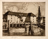 Artist: LINDSAY, Lionel | Title: Old commissariat stores, Circular Quay. | Date: 1912 | Technique: etching, printed in brown ink with plate-tone, from one plate | Copyright: Courtesy of the National Library of Australia