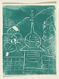 Title: Card: [church in landscape] | Technique: linocut, printed in green ink, from one block