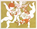 Artist: STRINGER, John | Title: Card: (three putti). | Date: (1962) | Technique: linocut, printed in colour, from multiple blocks
