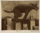 Artist: WILLIAMS, Deborah | Title: Jeff dog | Date: 1993, November | Technique: etching, aquatint and roulette, printed in black ink, from one plate