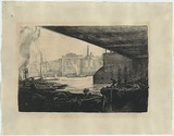 Artist: ELDERSHAW, John | Title: Under the Tower Bridge, Thames, London. | Date: (1929) | Technique: lithograph, printed in black ink, from one stone