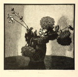 Artist: LINDSAY, Lionel | Title: Dahlias | Date: 1925 | Technique: wood-engraving, printed in black ink, from one block | Copyright: Courtesy of the National Library of Australia