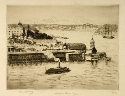 Artist: LINDSAY, Lionel | Title: Milson's Point, Sydney | Date: 1925 | Technique: etching, drypoint and foul biting, printed in brown ink with plate-tone, from one plate | Copyright: Courtesy of the National Library of Australia