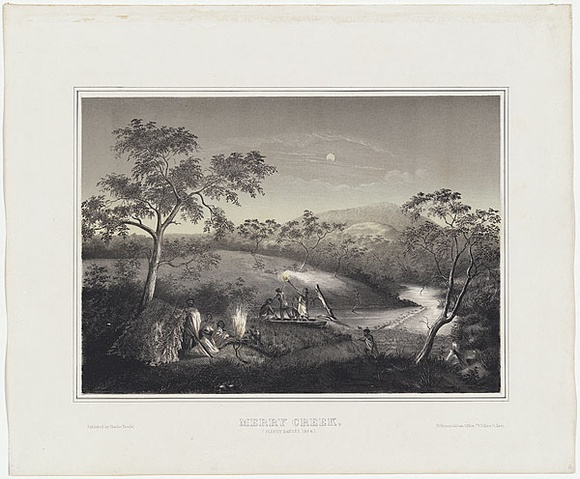 Artist: UNKNOWN AUSTRALIAN ARTIST, | Title: Merry Creek, Plenty Ranges. | Date: 1863-64 | Technique: lithograph, printed in colour, from two stones
