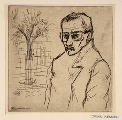 Artist: de KESSLER, Thomas | Title: Self-portrait. | Date: 1951 | Technique: etching and drypoint, printed in black ink with plate-tone, from one plate | Copyright: © Thomas de Kessler